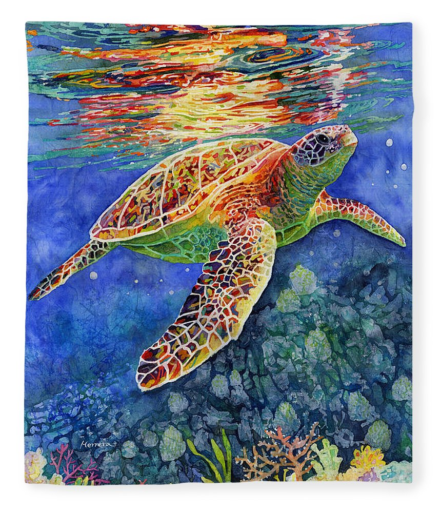 Turtle Fleece Blanket featuring the painting Turtle Reflections by Hailey E Herrera