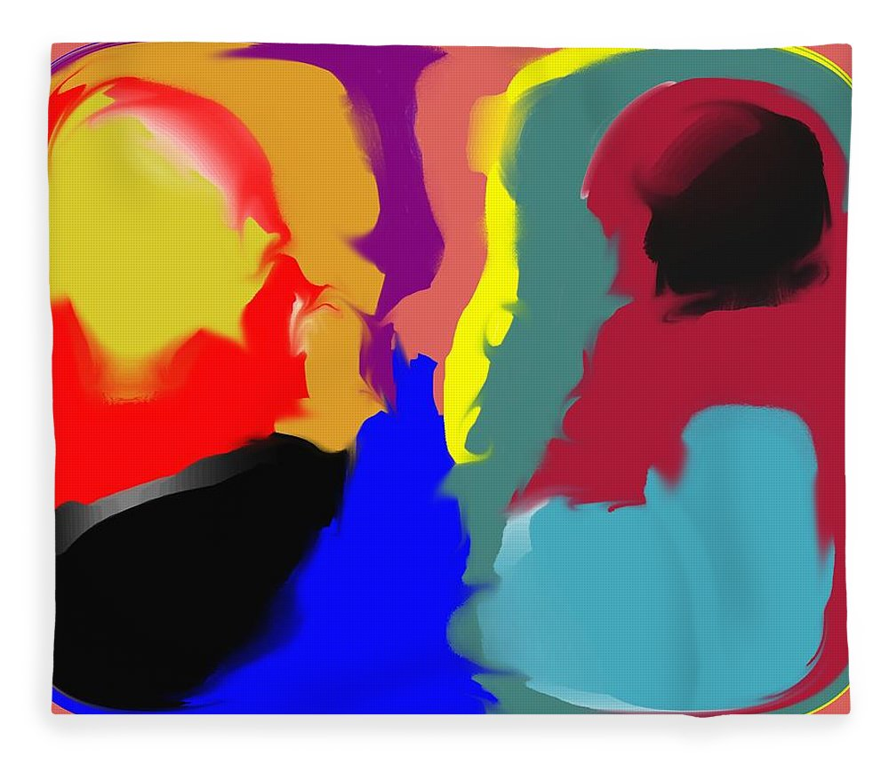 Abstract Fleece Blanket featuring the digital art Two Peas in a Pod by Pharris Art