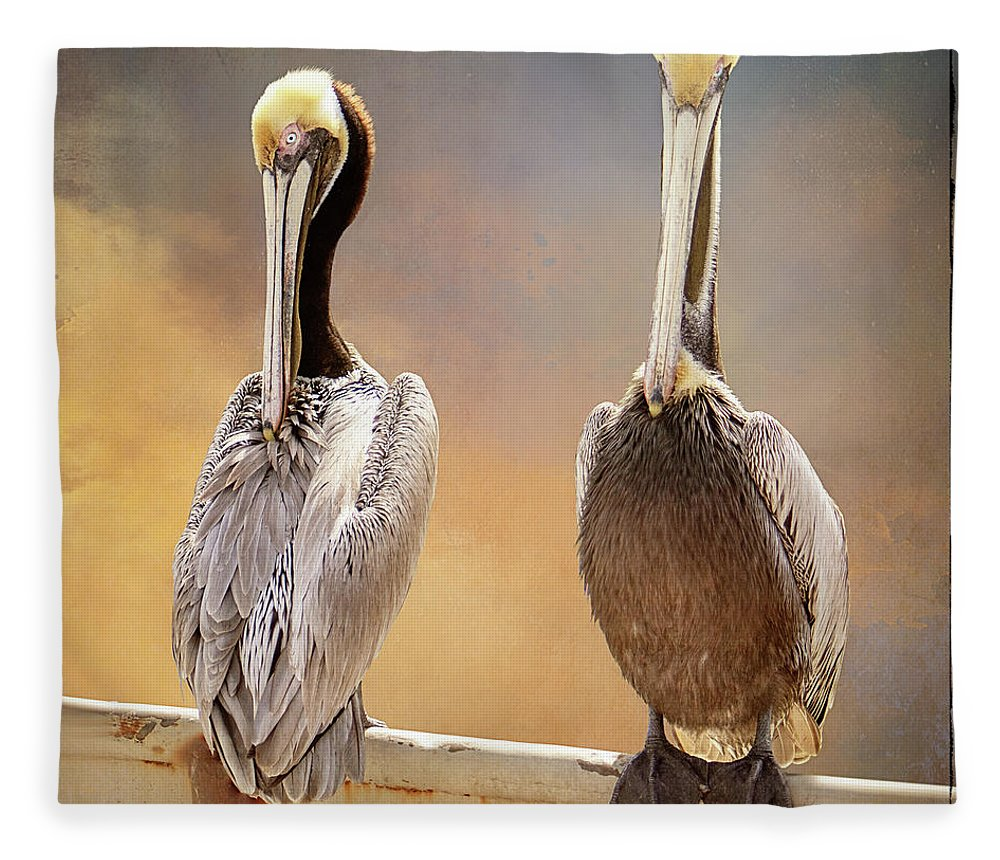 Pelicans Fleece Blanket featuring the digital art Two Pelicans by Linda Lee Hall