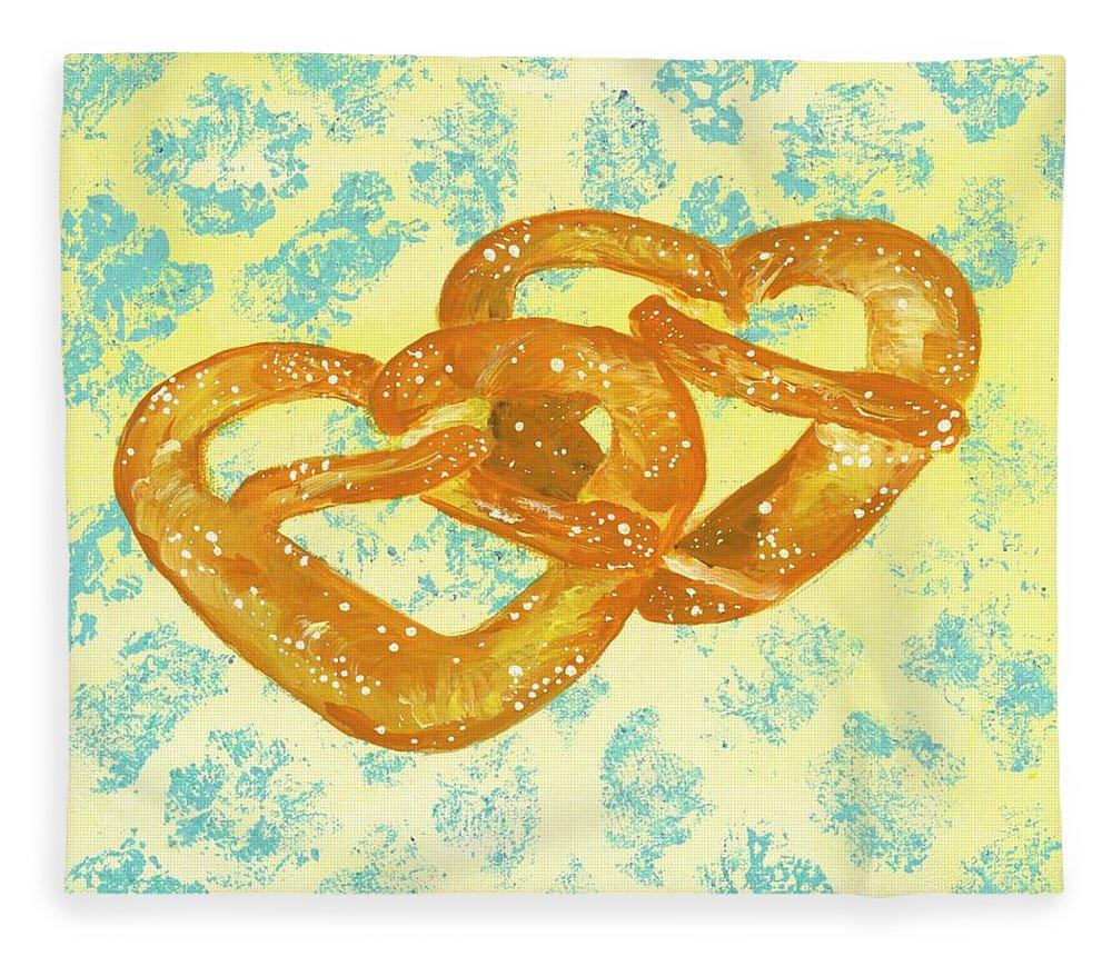 Pretzels Fleece Blanket featuring the painting Two Soft Pretzels by Britt Miller