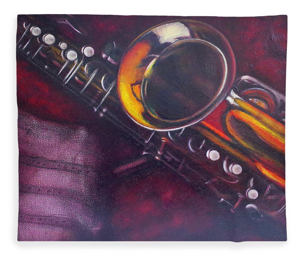 Oil Painting On Canvas Fleece Blanket featuring the painting Unprotected Sax by Sean Connolly