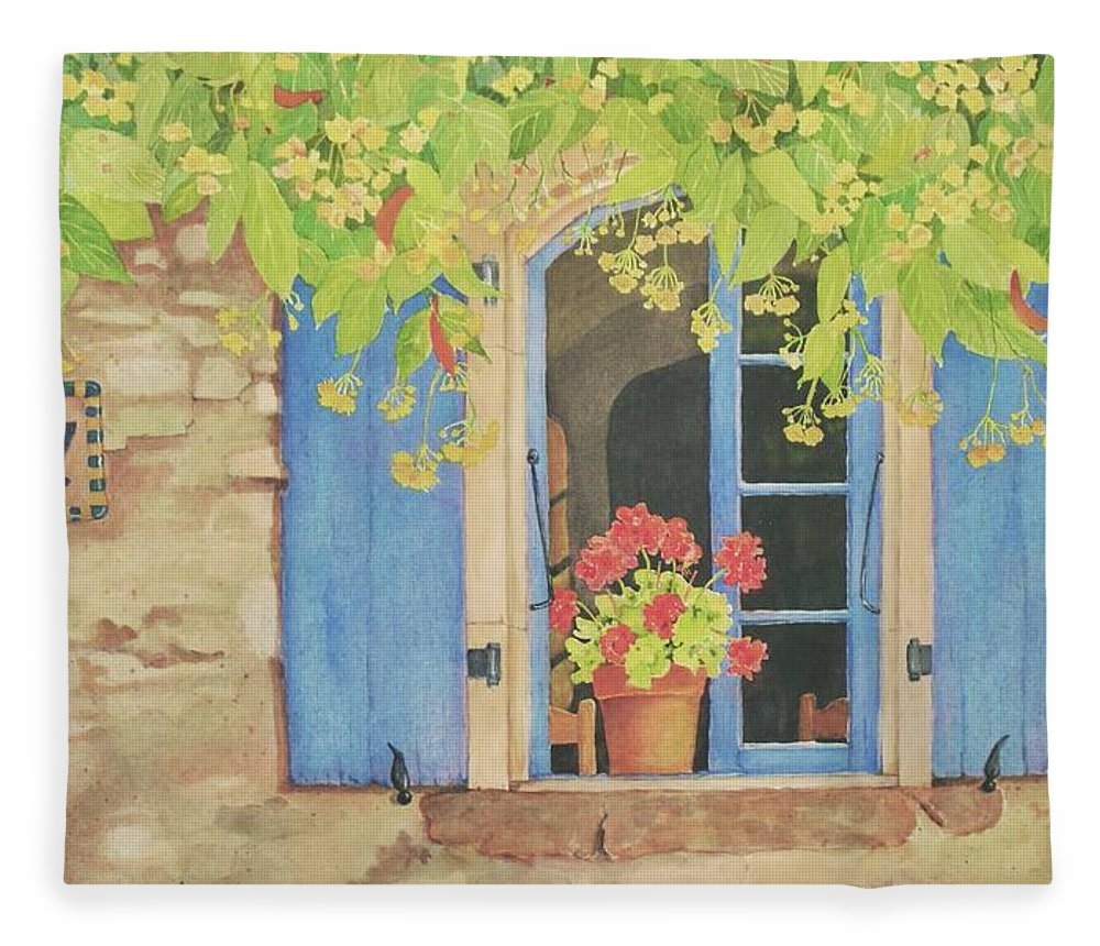 France Fleece Blanket featuring the painting Vacation Memory by Mary Ellen Mueller Legault