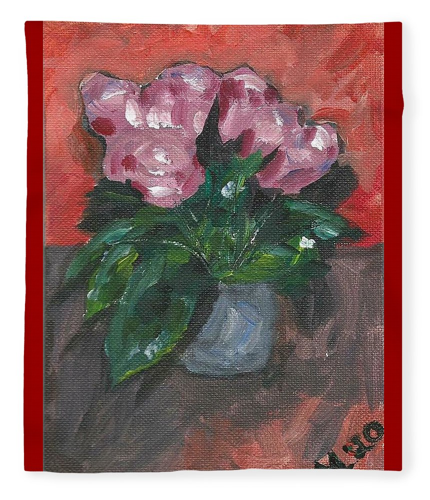 Rose Fleece Blanket featuring the painting Vase of Roses by Monica Resinger