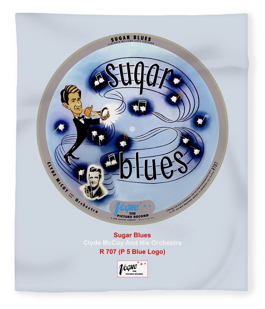 Vogue Picture Record Fleece Blanket featuring the digital art Vogue Record Art - R 707 - P 5, Blue Logo by John Robert Beck