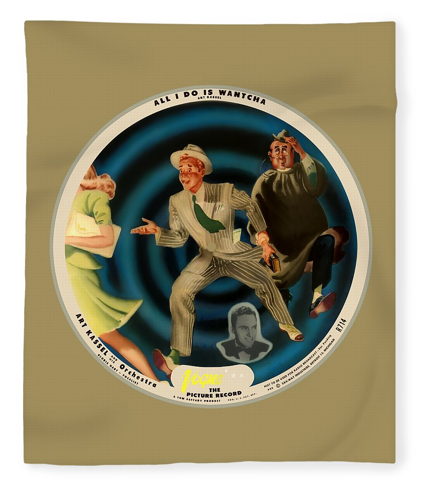 Vogue Picture Record Fleece Blanket featuring the digital art Vogue Record Art - R 714 - P 22, Yellow Logo - Square Version by John Robert Beck