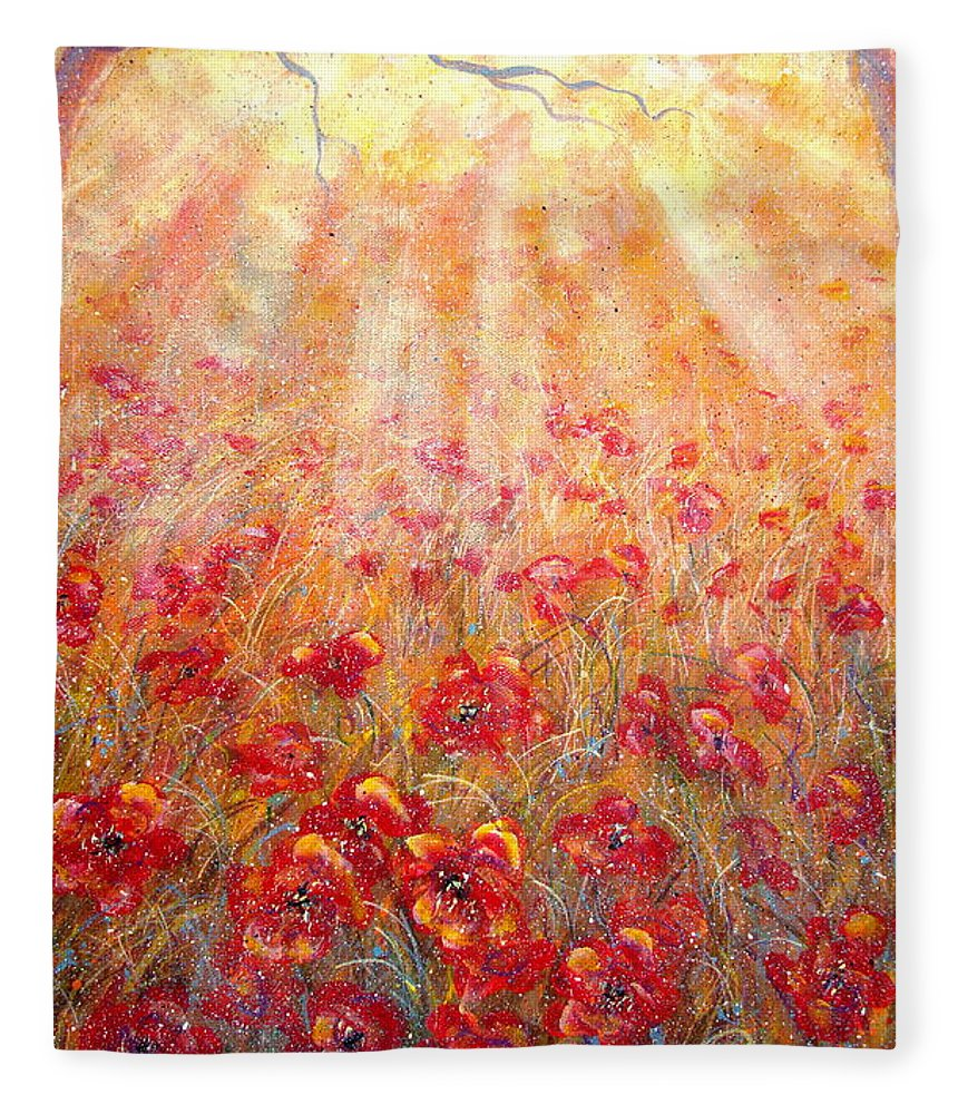 Landscape Fleece Blanket featuring the painting Warm Sun Rays by Natalie Holland