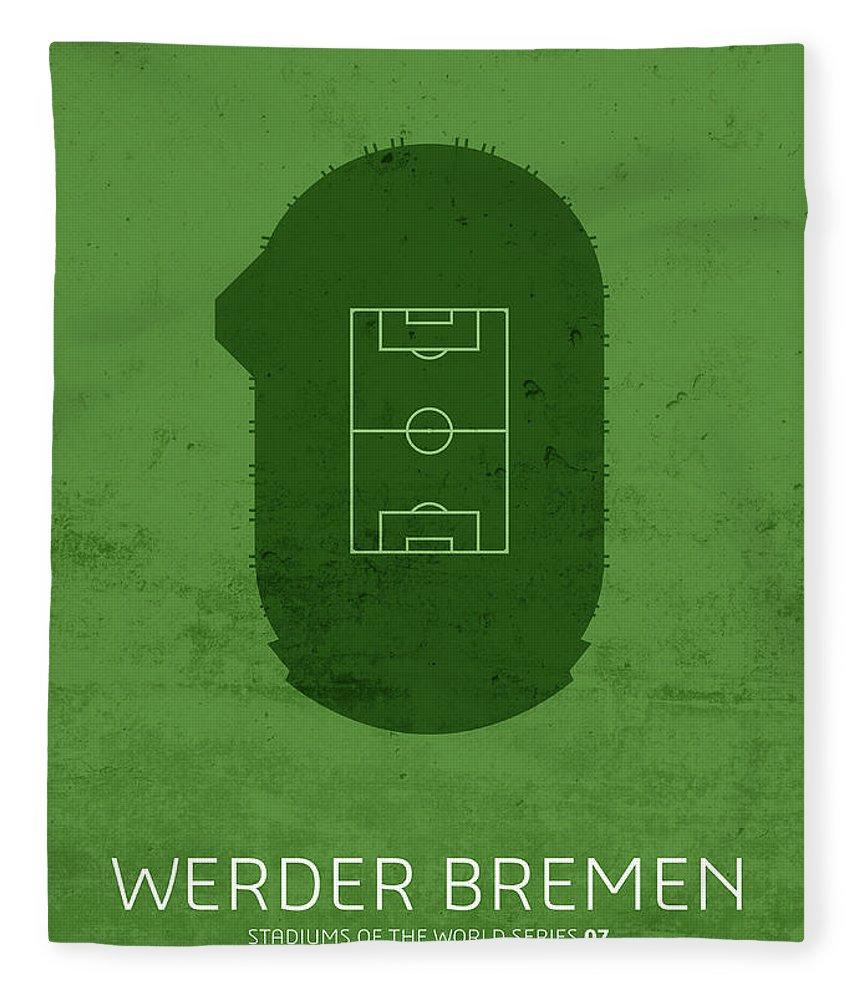 Werder Fleece Blanket featuring the mixed media Werder Bremen Sports Stadium Minimalist Football Soccer Series by Design Turnpike