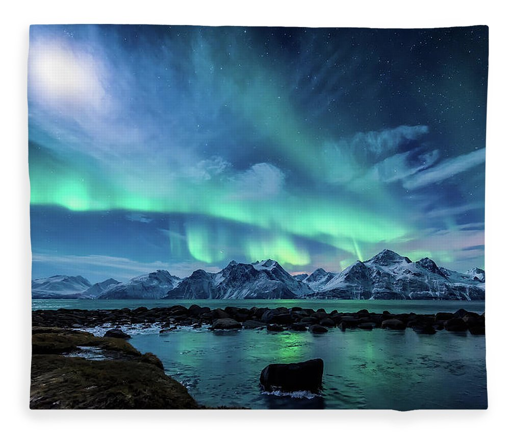 Moon Fleece Blanket featuring the photograph When the moon shines by Tor-Ivar Naess