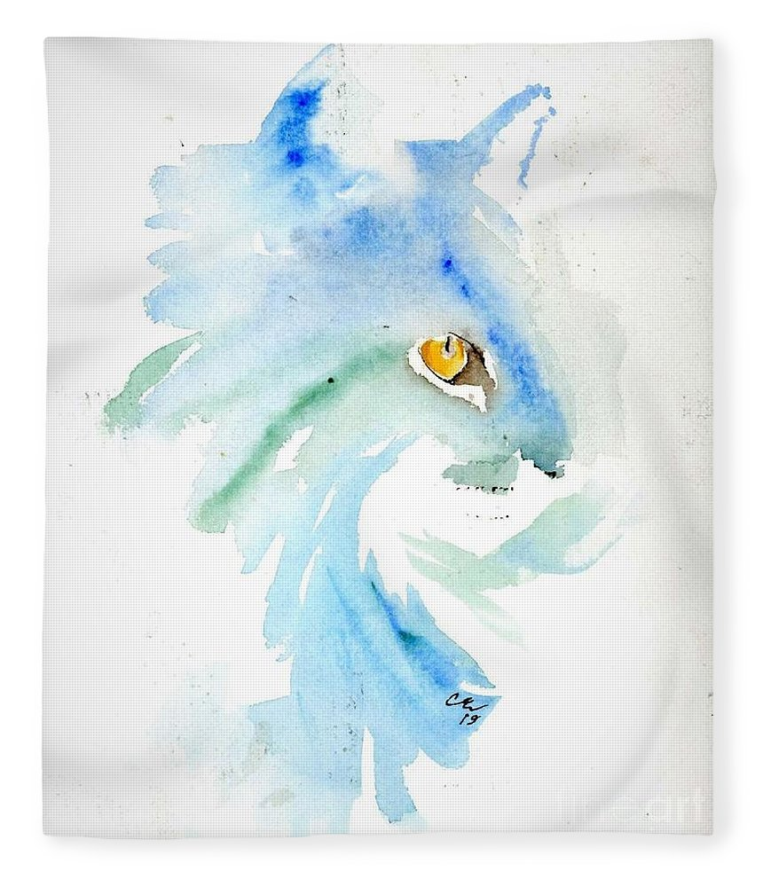 White Cat Fleece Blanket featuring the painting White Cat by Cher Clemans