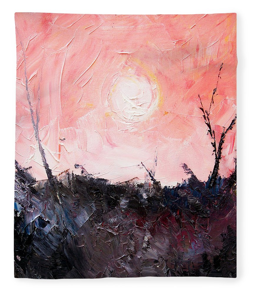 Duck Fleece Blanket featuring the painting White Sun by Sergey Bezhinets