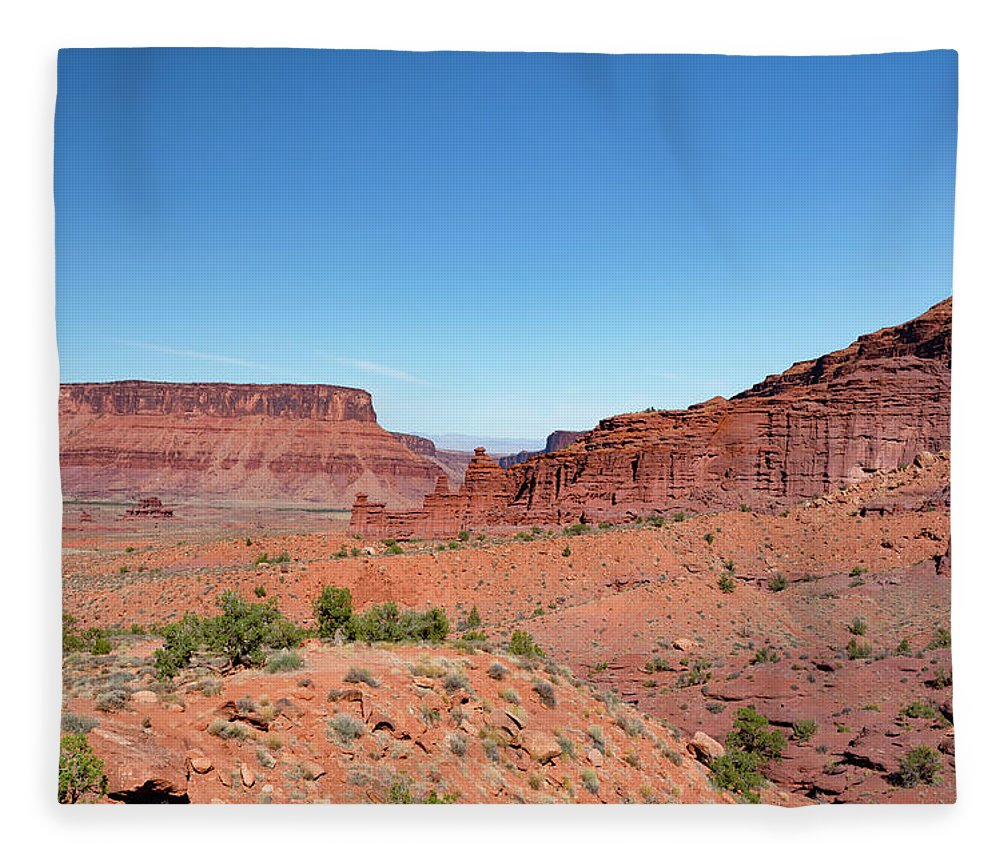 Fisher Towers Fleece Blanket featuring the photograph Wild Utah Landscape by Jim Thompson
