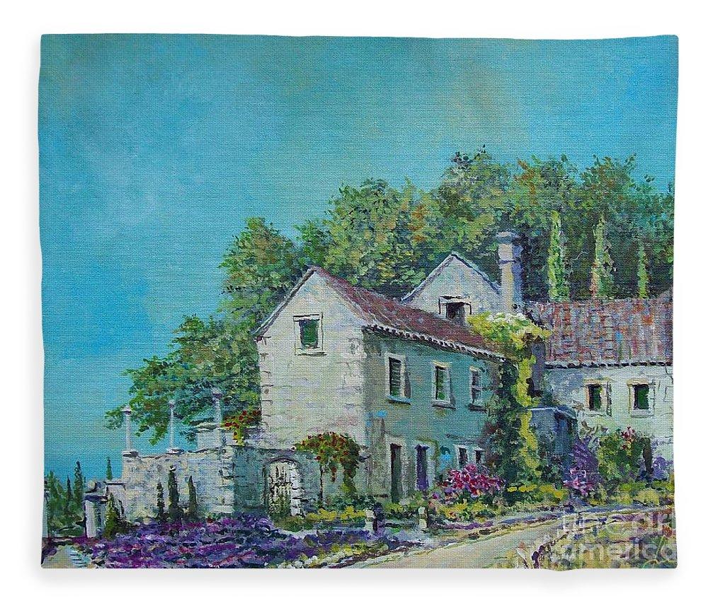 Original Painting Fleece Blanket featuring the painting Village Vista by Sinisa Saratlic