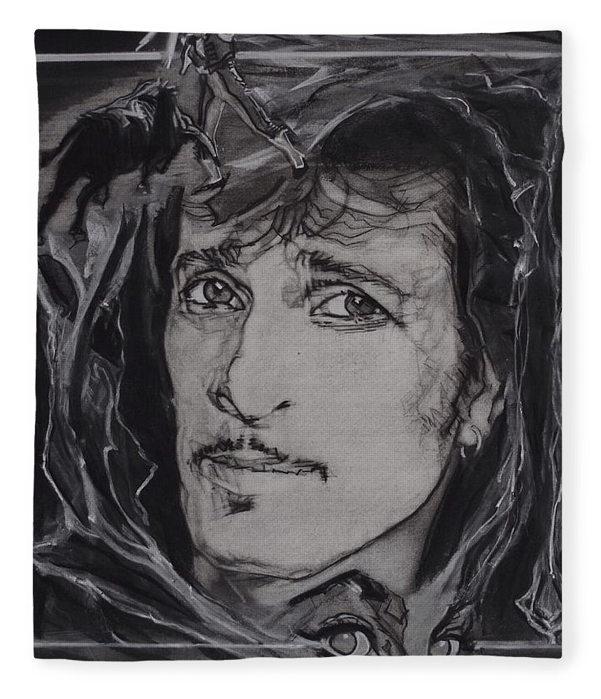 Charcoal Pencil On Paper Fleece Blanket featuring the drawing Willy DeVille - Coup de Grace by Sean Connolly