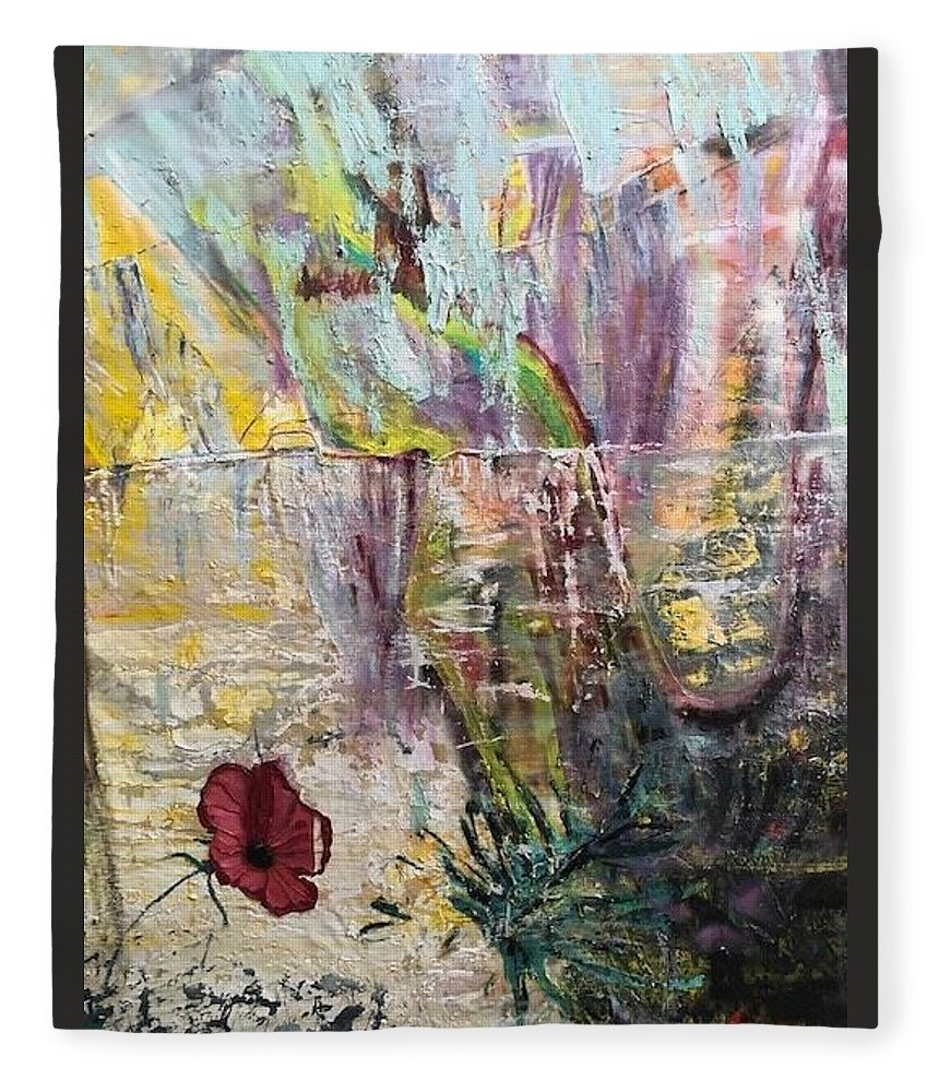 Flower Fleece Blanket featuring the painting Sunset on Wilmington  by Peggy Blood