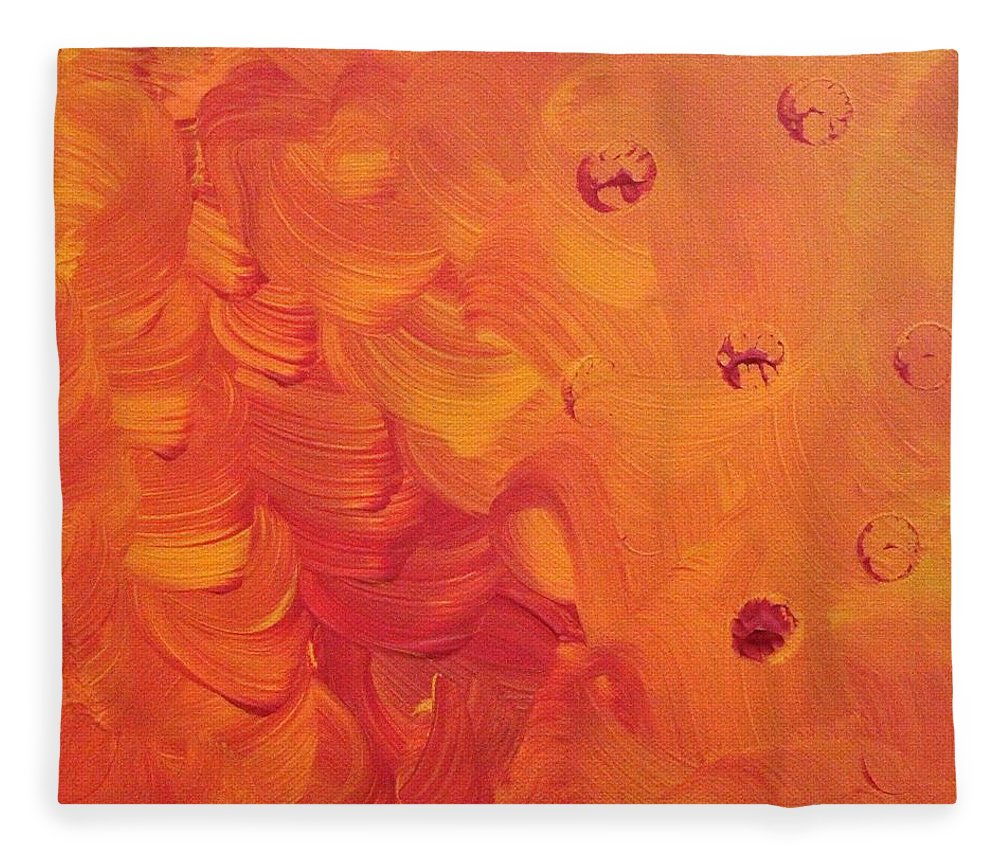 Orange Fleece Blanket featuring the painting Wind in Her Hair by Pam Roth O'Mara