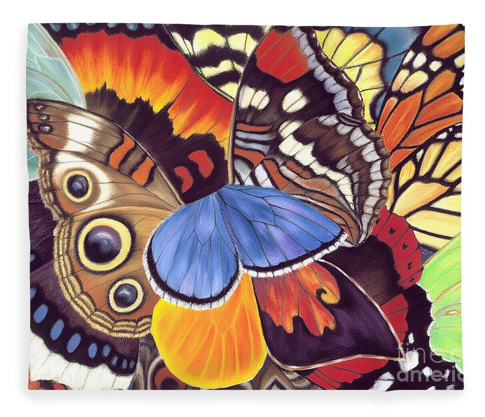 Butterflies Fleece Blanket featuring the painting Wings Of California by Lucy Arnold