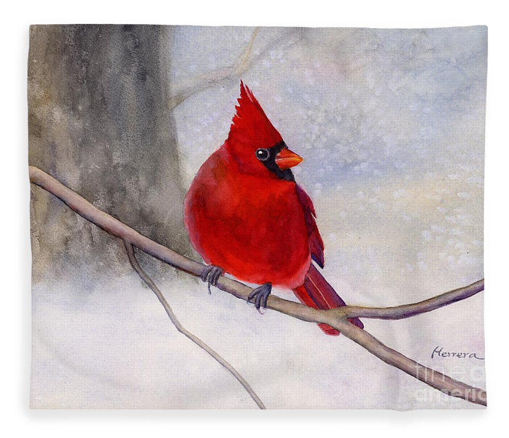 Cardinal Fleece Blanket featuring the painting Winter Cardinal by Hailey E Herrera