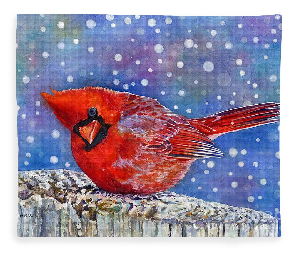 Red Cardinal Fleece Blanket featuring the painting Winter Quietude by Hailey E Herrera