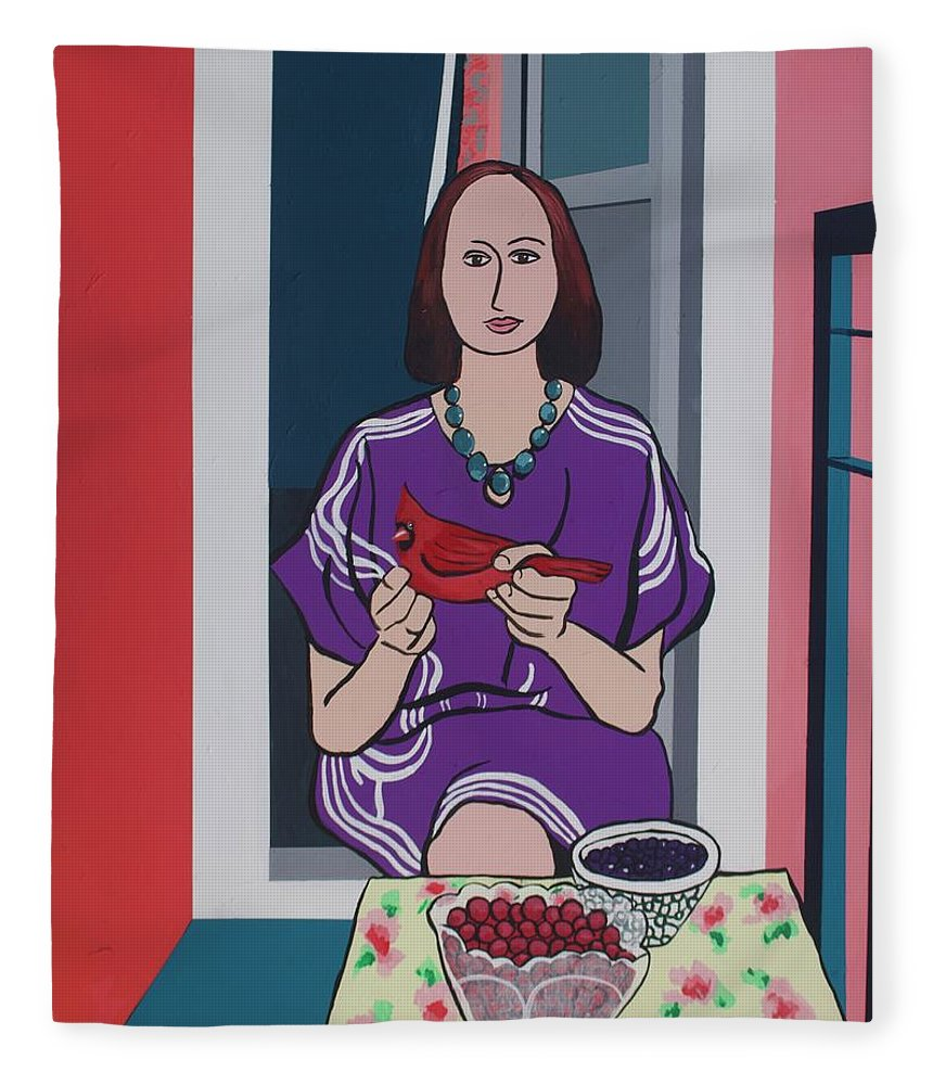 Bird Fleece Blanket featuring the painting Woman, Bird, and Berries - A Tribute to Henri Matisse by Rollin Kocsis