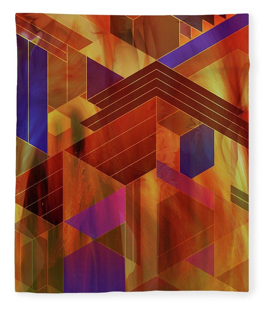 Wrightian Reflections Fleece Blanket featuring the digital art Wrightian Reflections by Studio B Prints