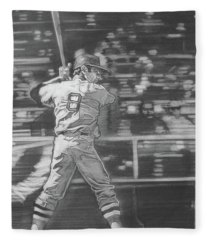 Charcoal On Paper Fleece Blanket featuring the drawing Yaz - Carl Yastrzemski by Sean Connolly