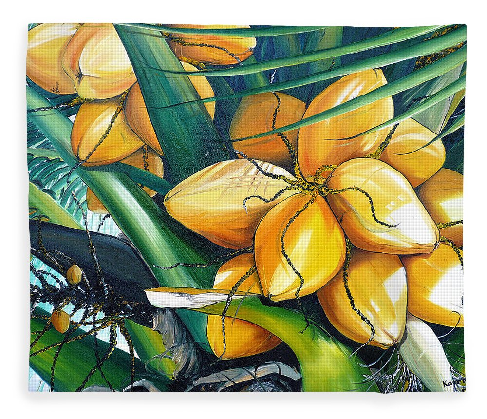 Coconut Painting Botanical Painting  Tropical Painting Caribbean Painting Original Painting Of Yellow Coconuts On The Palm Tree Fleece Blanket featuring the painting Yellow Coconuts by Karin Dawn Kelshall- Best