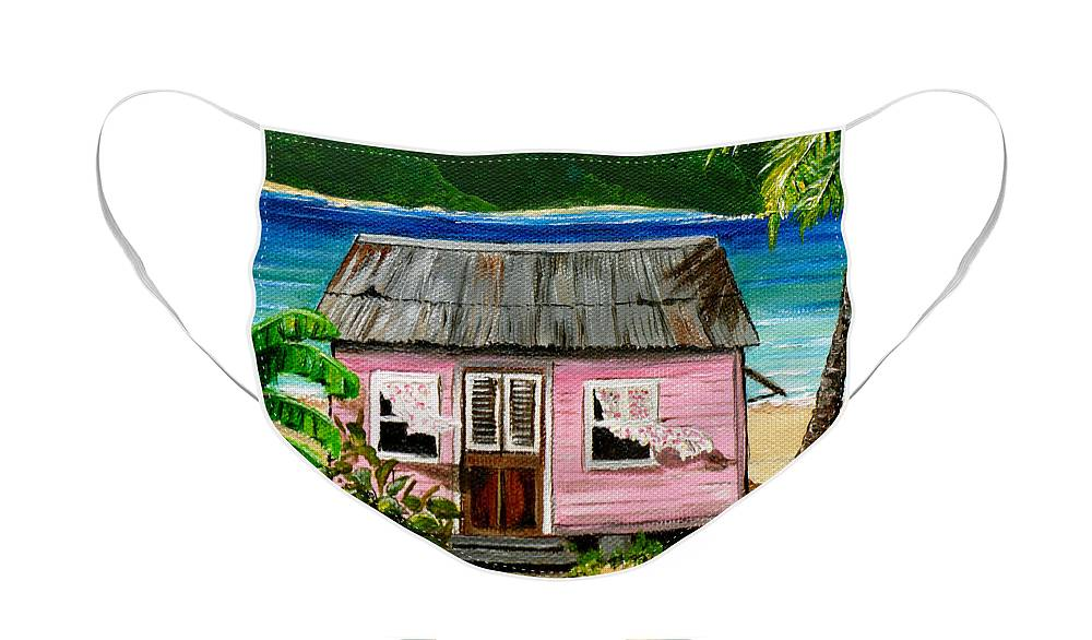 Caribbean House Face Mask featuring the painting Pink Caribbean House by Karin Dawn Kelshall- Best
