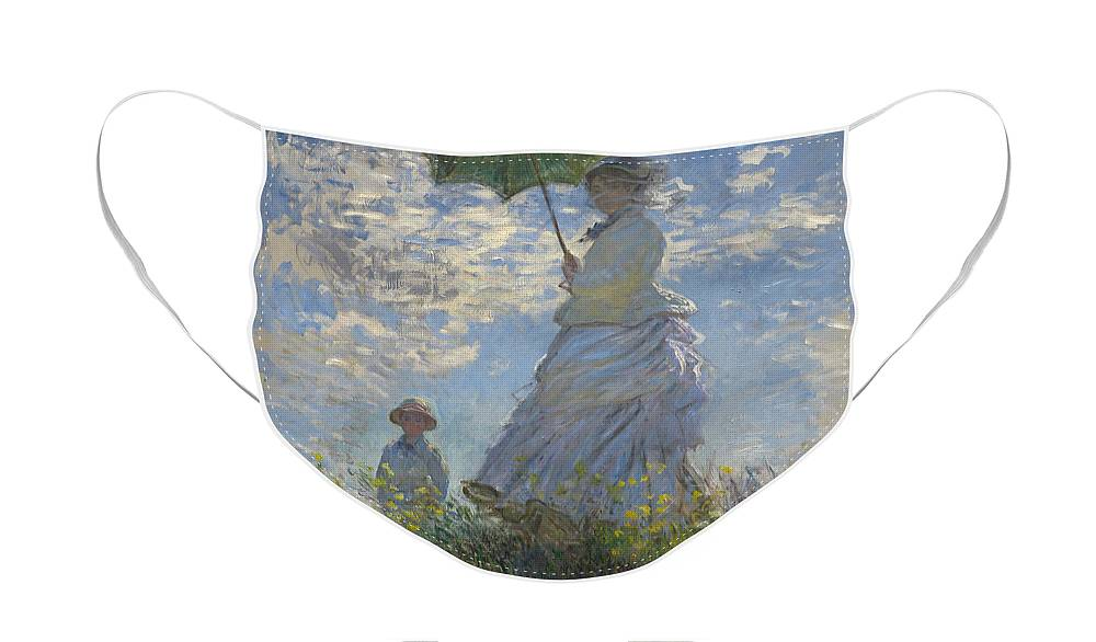 Female; Male; Boy; Child; Hill; Walking; Walk; Stroll; Summer; Outdoors; Mother; Hat; Impressionist; Artists Face Mask featuring the painting Woman with a Parasol Madame Monet and Her Son by Claude Monet