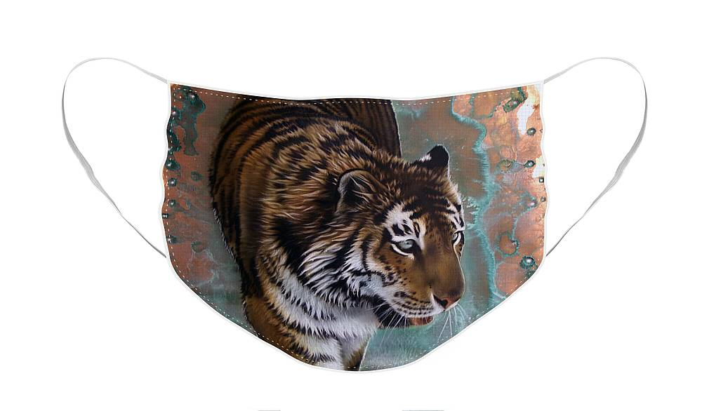 Copper Face Mask featuring the painting Copper Tiger I by Sandi Baker