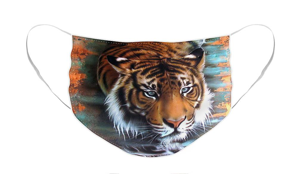Copper Face Mask featuring the painting Copper Tiger II by Sandi Baker
