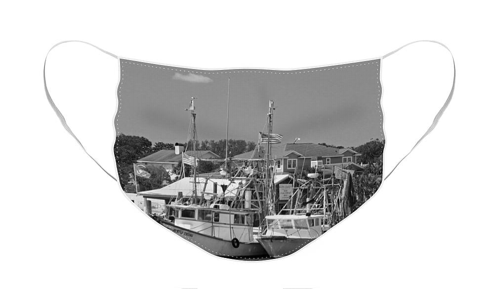 Shrimper Face Mask featuring the photograph Family Thing - Black and White by Suzanne Gaff
