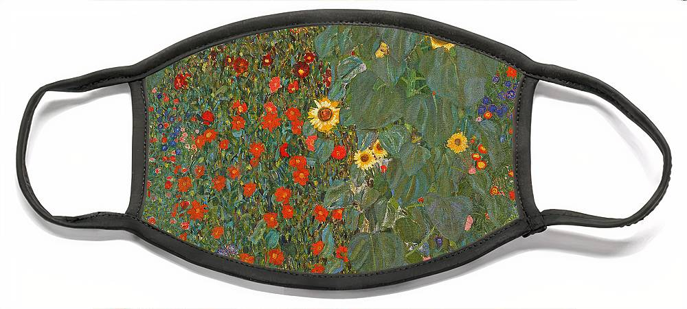 Klimt Face Mask featuring the painting Farm Garden with Sunflowers by Gustav Klimt