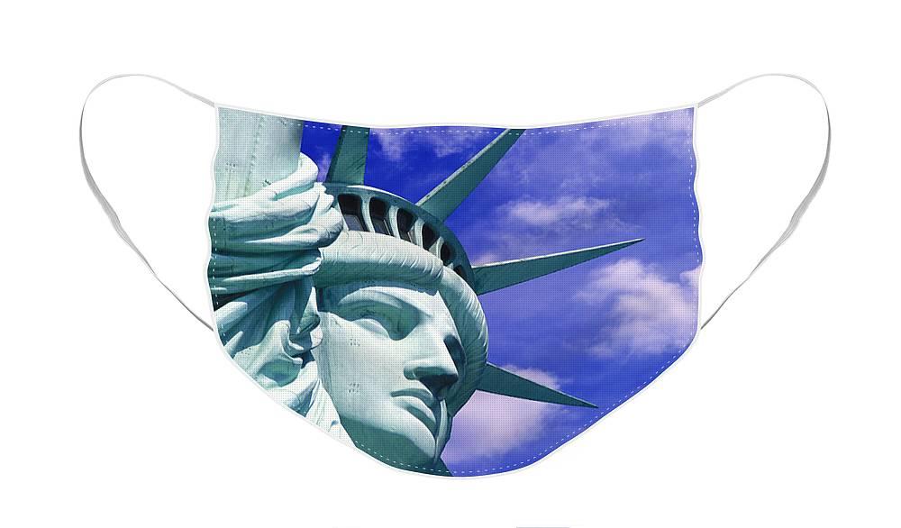 Lady Liberty Face Mask featuring the mixed media Lady Liberty by Jon Neidert