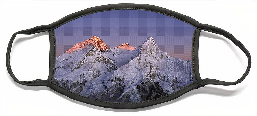 Feb0514 Face Mask featuring the photograph Moon Over Mount Everest Summit by Grant Dixon