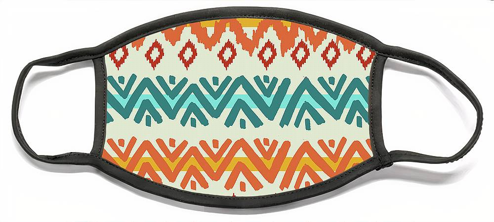 Navajo Face Mask featuring the digital art Navajo Mission Round by Nicholas Biscardi