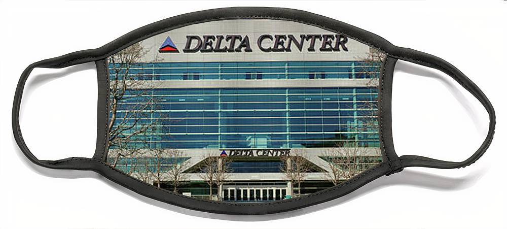 Photography Face Mask featuring the photograph Panoramic Of Delta Center Building by Panoramic Images