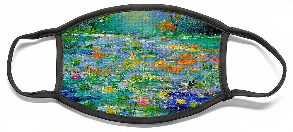 Landscape Face Mask featuring the painting Pond 454190 by Pol Ledent