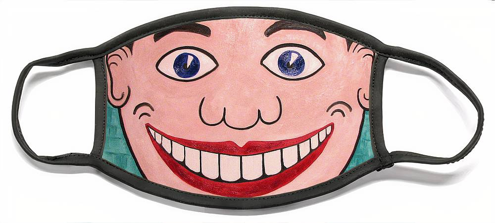 Tillie Face Mask featuring the painting Happy Tillie by Patricia Arroyo