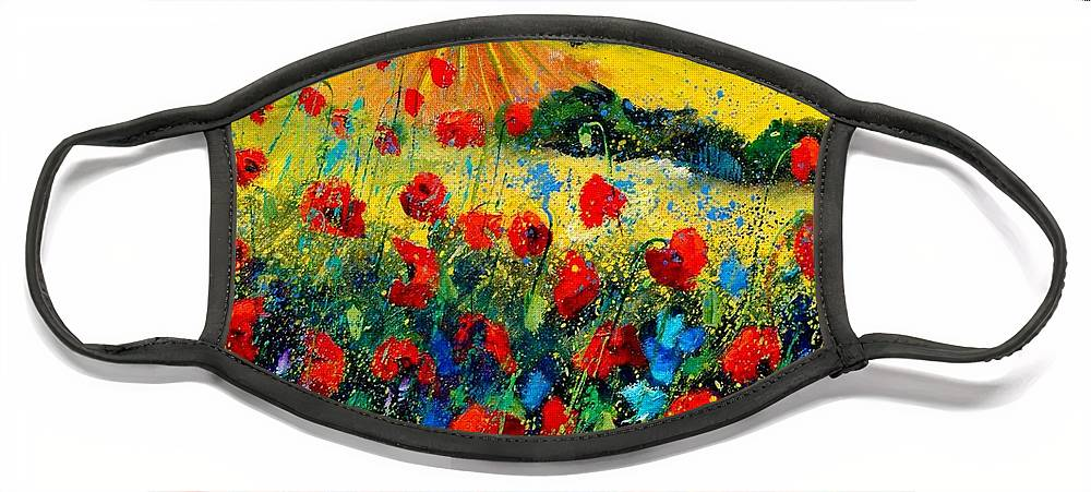 Flowersn Landscape Face Mask featuring the painting Poppies in Tuscany by Pol Ledent