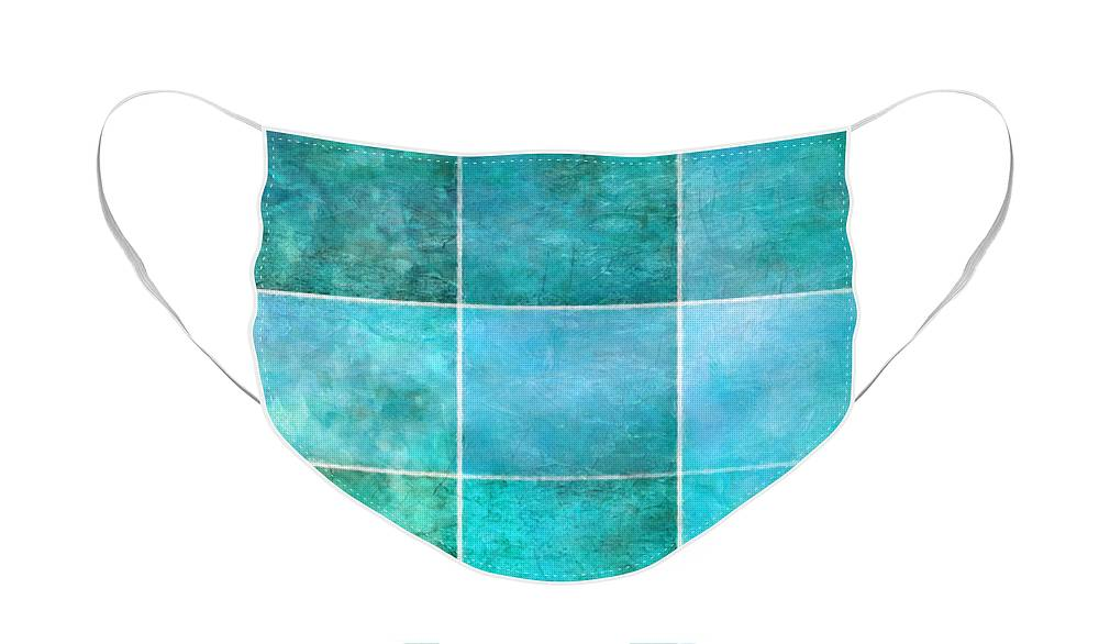 Abstract Ocean Face Mask featuring the mixed media 3 By 3 Ocean by Angelina Tamez