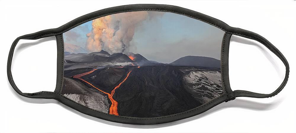 Feb0514 Face Mask featuring the photograph Tolbachik Volcano Erupting Kamchatka by Sergey Gorshkov