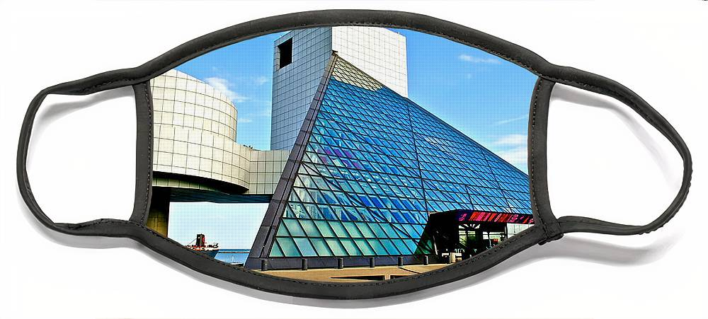Rock Face Mask featuring the photograph Rock and Roll Hall of Fame by Frozen in Time Fine Art Photography
