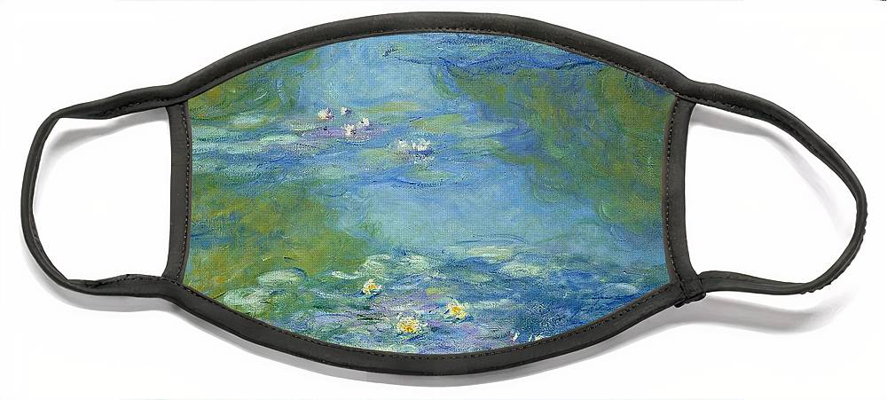 French Face Mask featuring the painting Waterlilies by Claude Monet