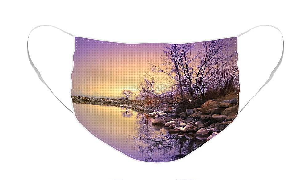 Winter Face Mask featuring the photograph A Distant Glow by Tara Turner
