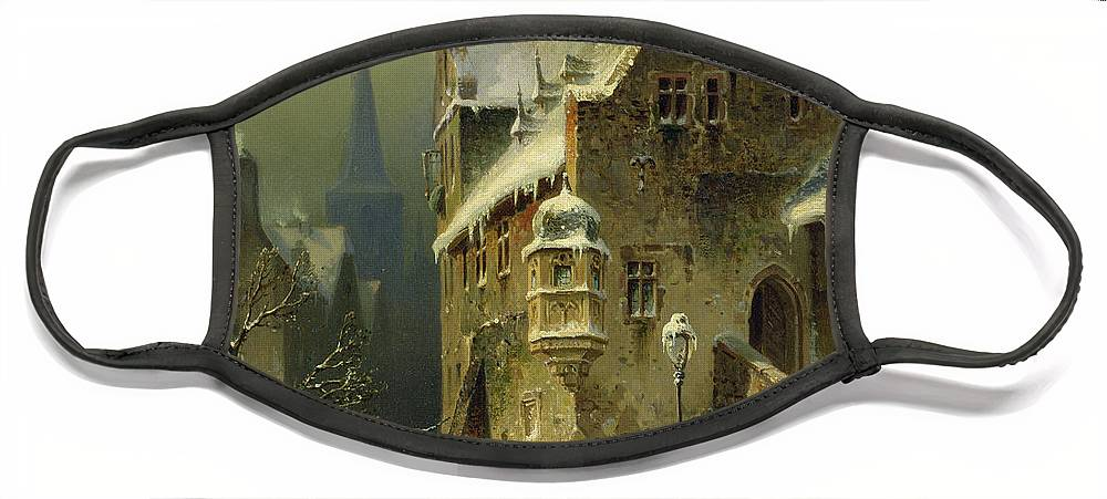 Schlieker Face Mask featuring the painting A Small Town in the Rhine by August Schlieker