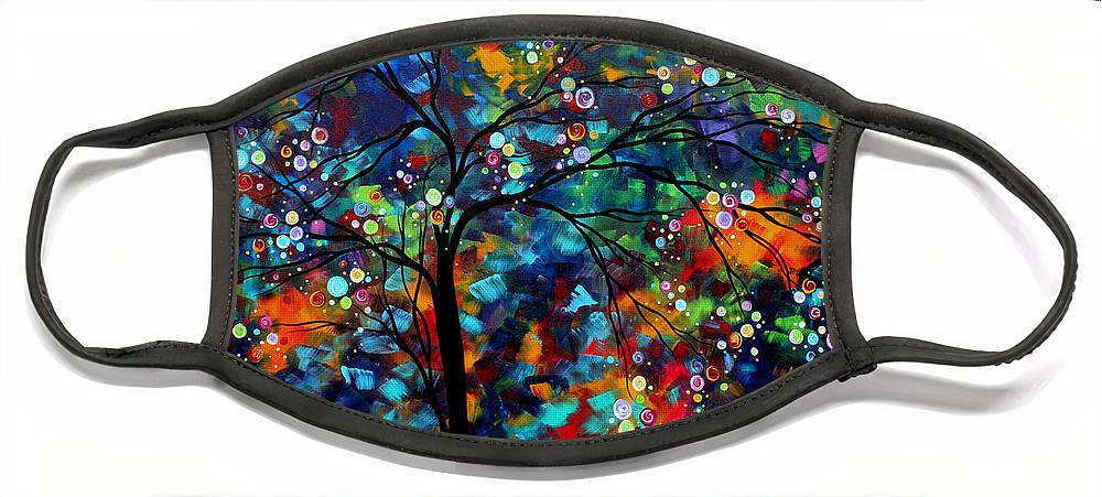 Abstract Face Mask featuring the painting Abstract Art Original Landscape Painting Bold Colorful Design SHIMMER IN THE SKY by MADART by Megan Duncanson