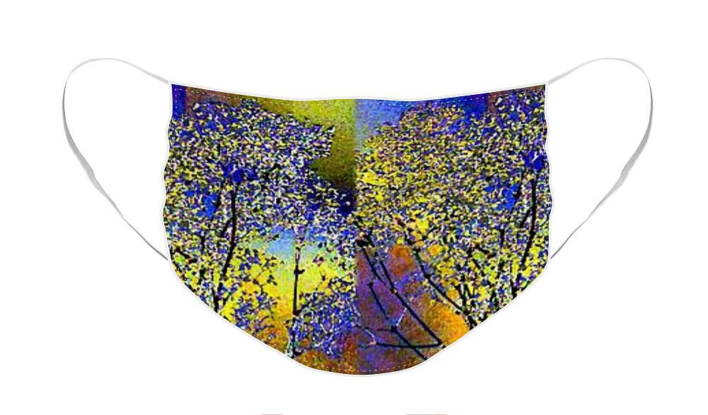 Abstract Fusion Face Mask featuring the digital art Abstract Fusion 100 by Will Borden