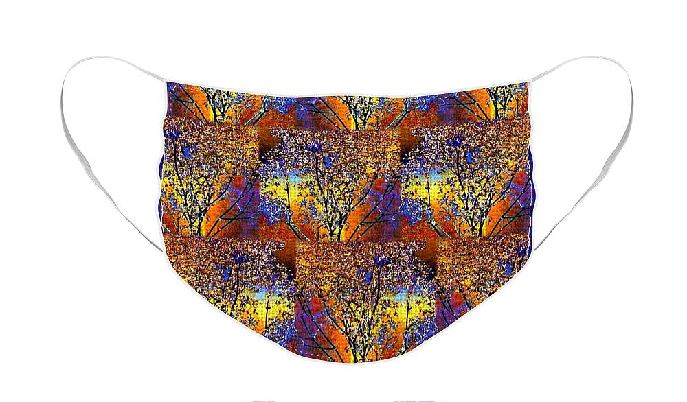Abstract Fusion Face Mask featuring the digital art Abstract Fusion 142 by Will Borden