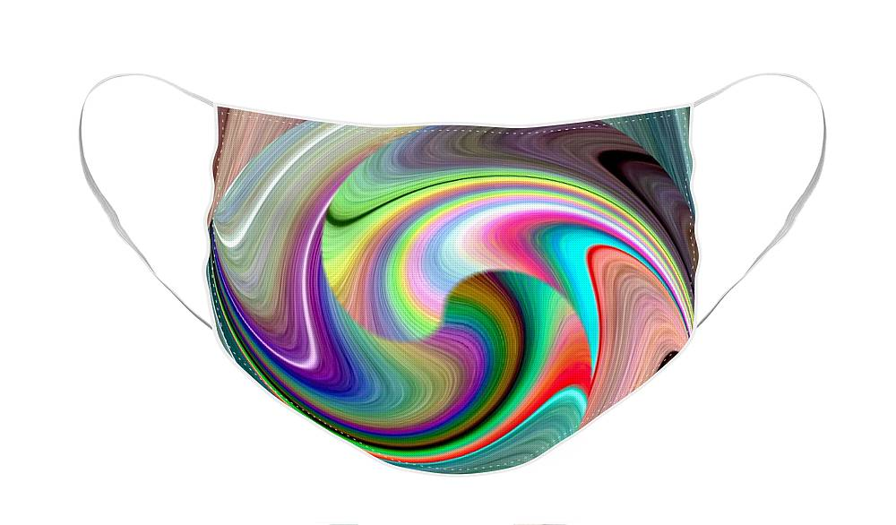 Abstract Fusion 241 Face Mask featuring the digital art Abstract Fusion 241 by Will Borden
