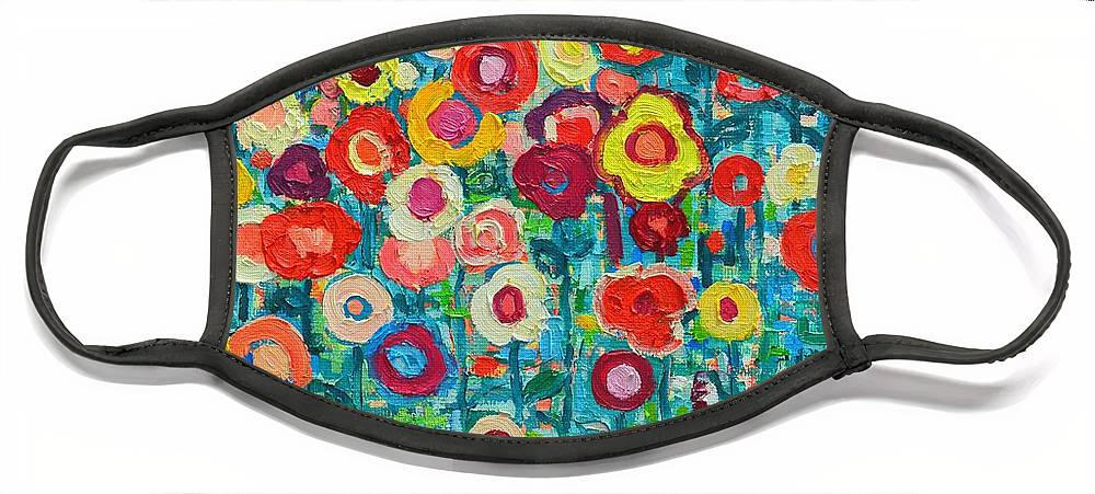Abstract Face Mask featuring the painting Abstract Garden Of Happiness by Ana Maria Edulescu